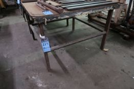 "48"" X 48"" X 32"" HIGH SHOP BUILT WELDED STEEL TABLE **NO CONTENTS** **DELAY REMOVAL - PICK UP 9-23-"