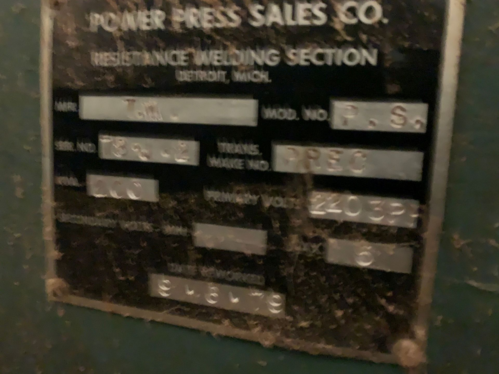 TAYLOR WINFIELD 200 KVA SPOT WELDER **MISSING ARMS** - Image 4 of 4