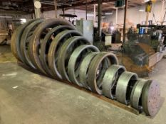 "(LOT) APPROX. (70) WOOD AND STEEL CIRCULAR FORMING DIES, FROM 12"" - 84"" DIAMETER WITH RACKS"