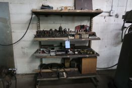 (LOT) MISCELLANEOUS DRILLS, END MILLS AND HOLDOWNS WITH STEEL SHELVING