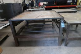 "59"" X 59"" X 37"" HIGH SHOP BUILT WELDED STEEL TABLE"