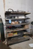 (LOT) MISCELLANEOUS STEEL AND HARDWARE WITH SHELVING