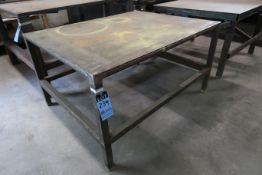 "46"" X 58"" X 32"" HIGH SHOP BUILT WELDED STEEL TABLE"