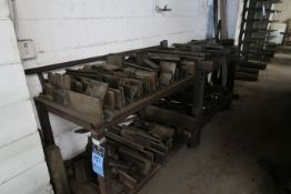 (LOT) MISCELLANEOUS SIZE PRESS BRAKE DIES ALONG WALL WITH STAND