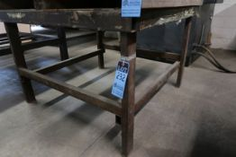 "48"" X 48"" X 32"" HIGH SHOP BUILT PORTABLE WELDED STEEL TABLE **NO CONTENTS** **DELAY REMOVAL - PICK"