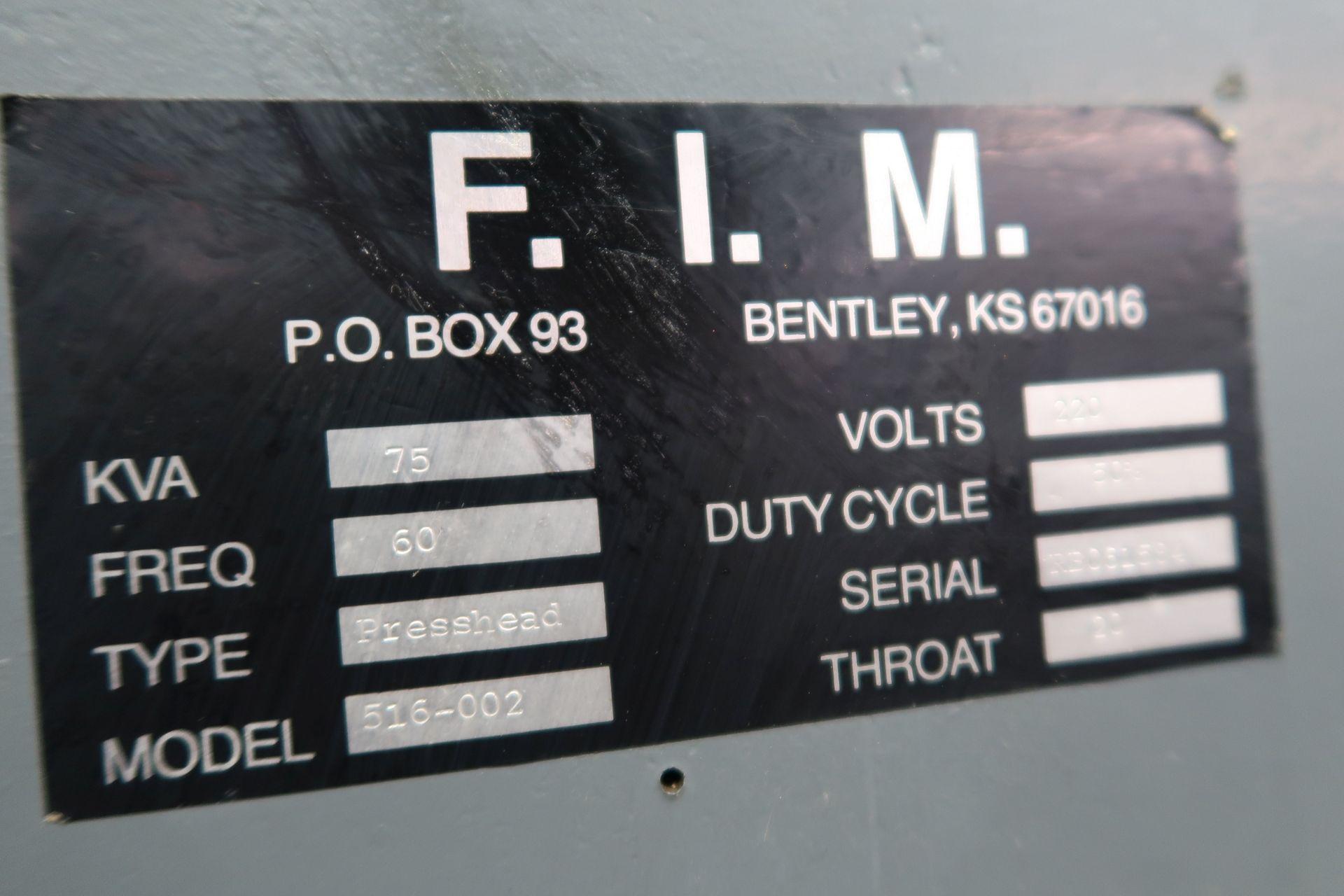 "75 KVA FIM MODEL 516-002 PRESSHEAD TYPE SPOT WELDER; S/N RB061584, 20"" THROAT, 220 VOLTS - Image 7 of 8"