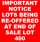 Lots being re-offered at end of sale due to buyer backing out.