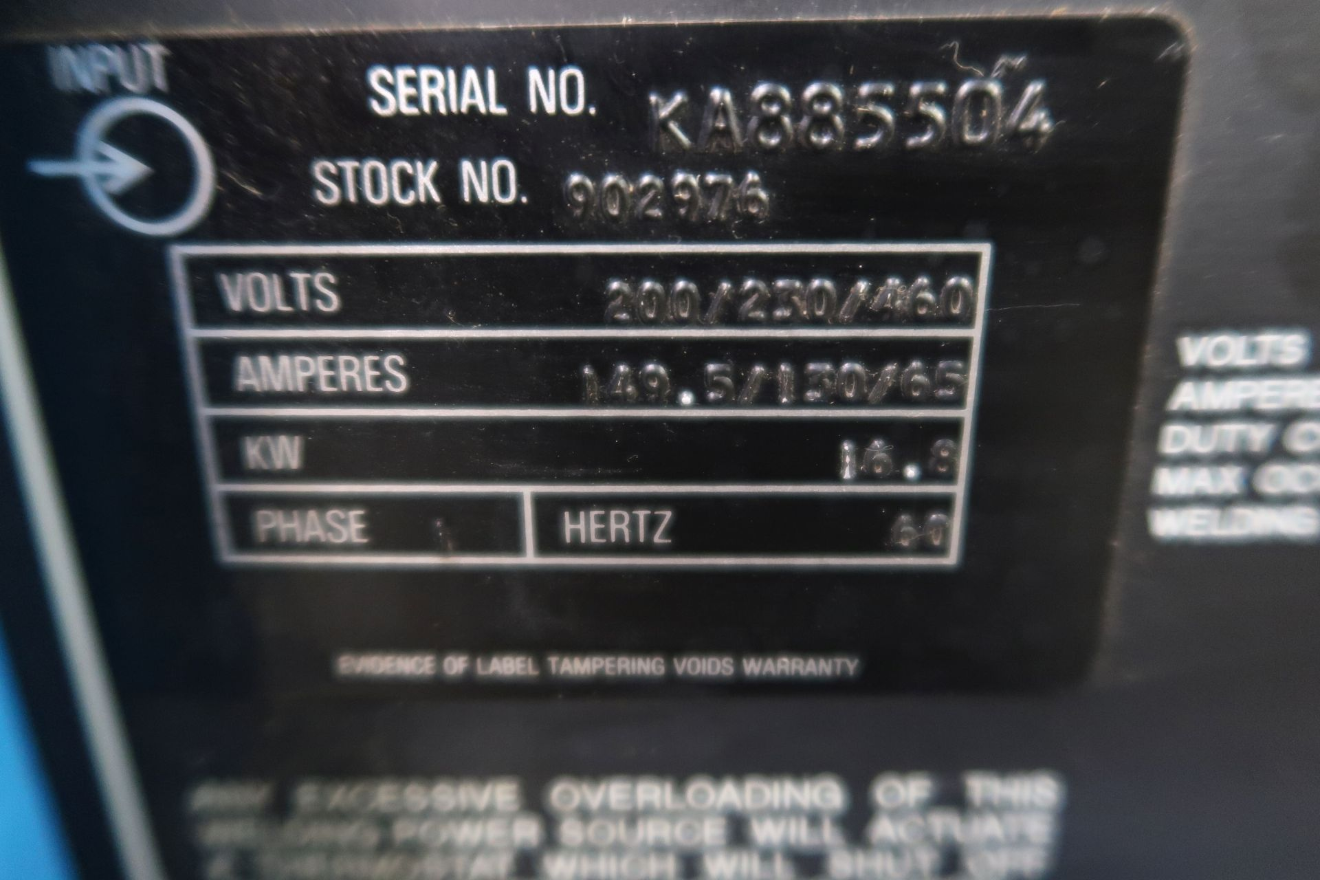 350 AMP MILLER SYNCROWAVE 350 CONSTANT CURRENT AC/DC ARC WELDING POWER SOURCE; S/N KA885504, WITH - Image 5 of 5