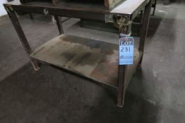 "25"" X 48"" X 33"" HIGH SHOP BUILT PORTABLE WELDED STEEL TABLE **NO CONTENTS** **DELAY REMOVAL - PICK"