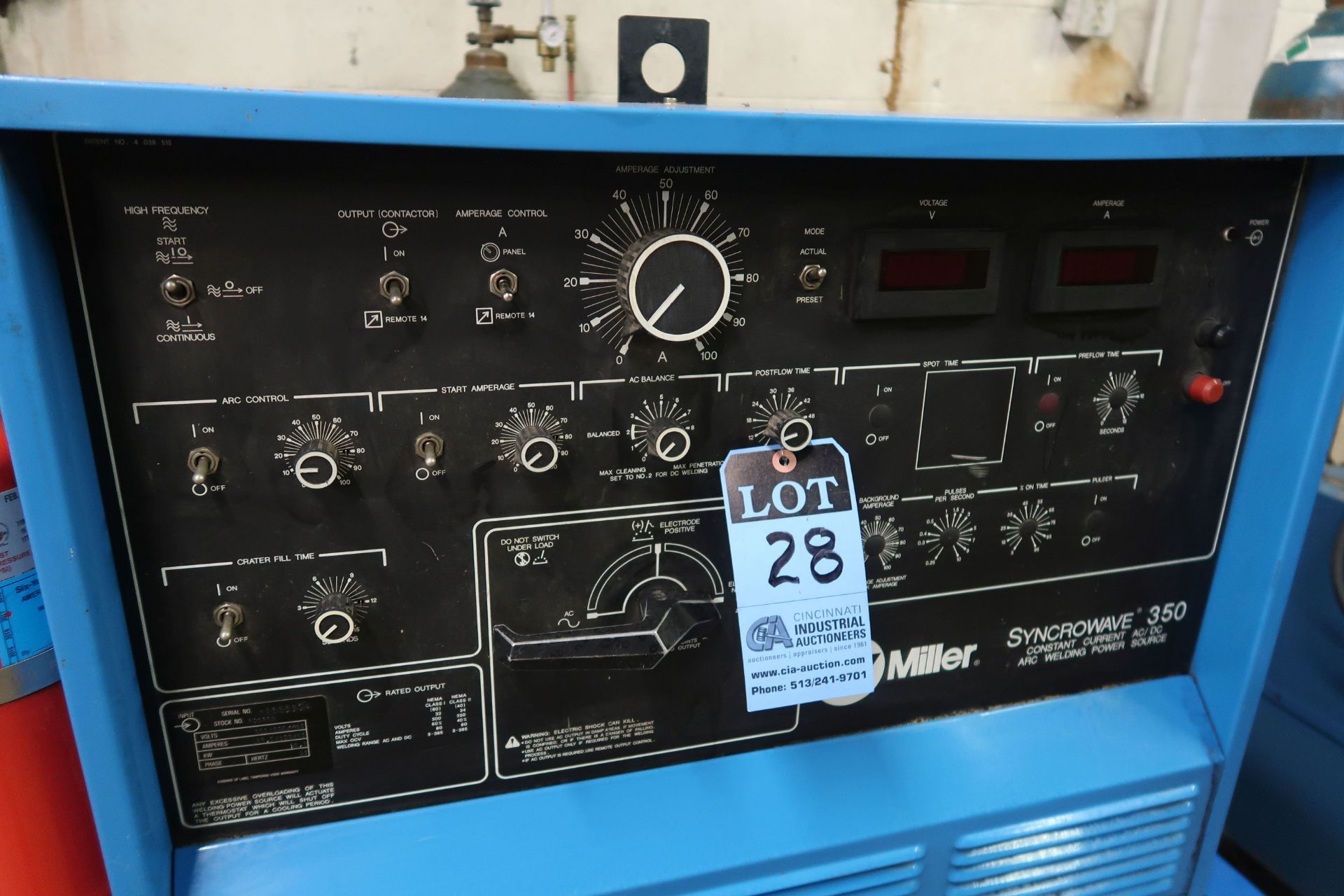 350 AMP MILLER SYNCROWAVE 350 CONSTANT CURRENT AC/DC ARC WELDING POWER SOURCE; S/N KA885504, WITH - Image 2 of 5