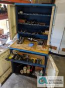 (LOT) CABINET WITH LATHE TOOLING; TAPPING HEAD, LIVE CENTER, HOLDERS, STOPS, COLLETS
