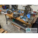 WOOD TOP BENCH WITH ARBOR PRESS AND VISE
