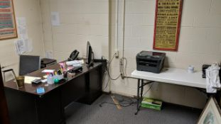 (LOT) CONTENTS OF OFFICE; DESK, FOLDING TABLE, FILE CABINET, BROTHER HL22800 PRINTER