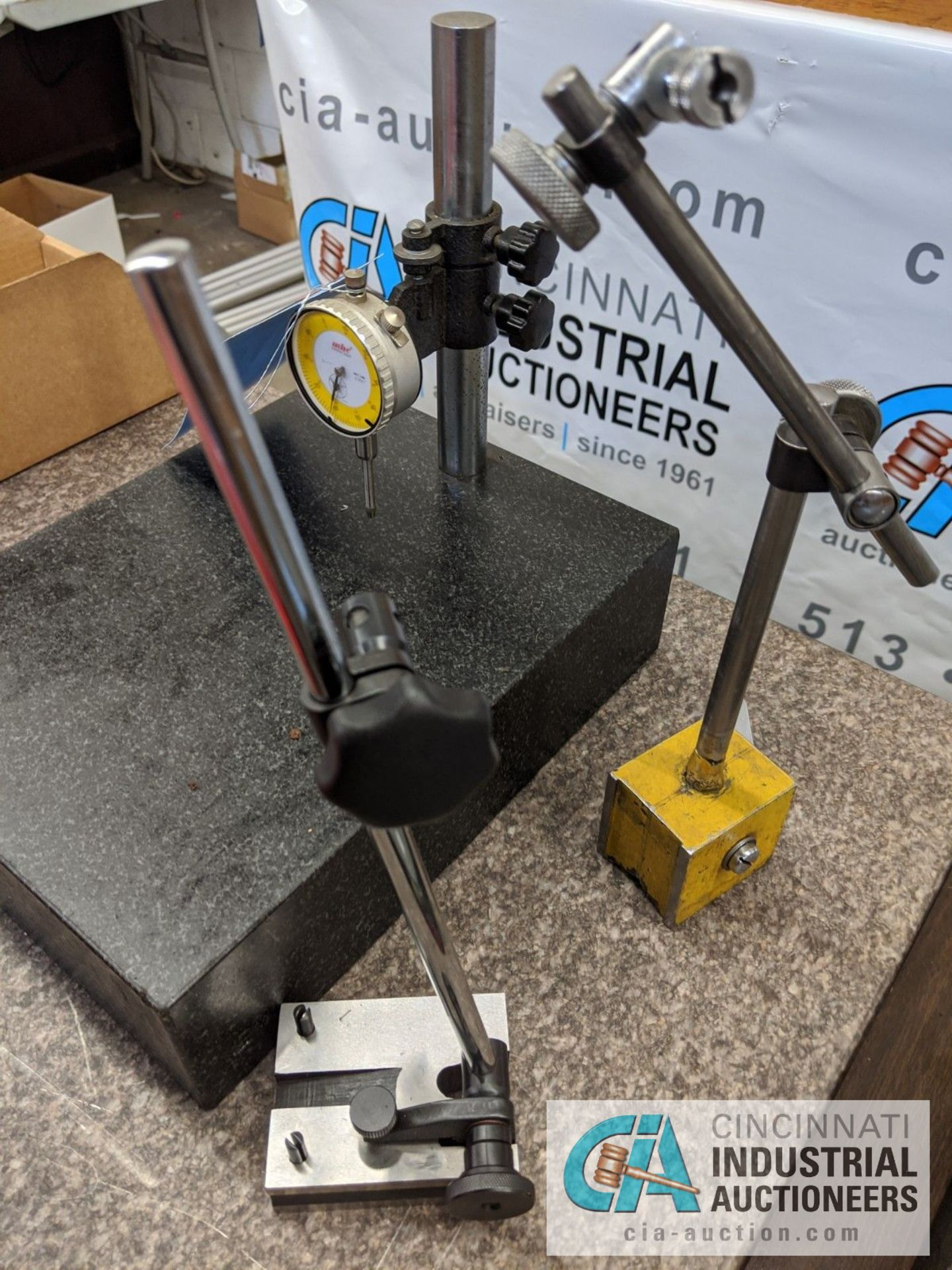 "9"" X 12"" GRANITE PLATE WITH DIAL INDICATOR AND (2) INDICATOR STANDS - Image 3 of 3"