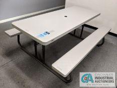 (LOT) CONTENTS OF BREAK AREA; PICNIC TABLE, MINI-FRIDGE, MICROWAVE