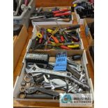 BOXES ASSORTED TOOLS; WRENCHES, SCREW DRIVER AND ASSORTMENT BOX