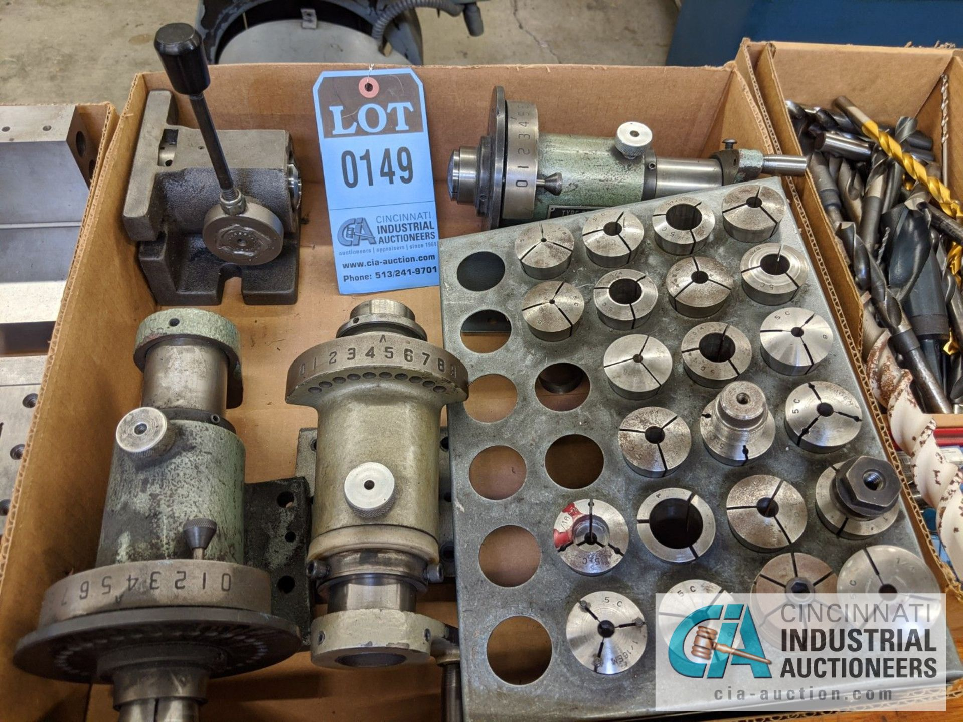 (LOT) ASSORTED 5C TOOLING; COLLETS AND SPIN FIXTURES