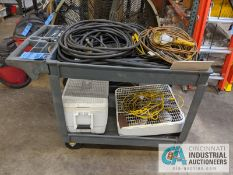 (LOT) AIR HOSE, EXTENSION CORDS, JUMPER CABLES, COOLER WITH RUBBER MAID CART