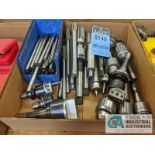 (LOT) BOX OF TOOLING; REAMERS, DRILL CHUCKS, LIVE CENTERS, ADJUSTABLE BORING HEADS