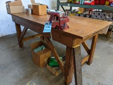 "42"" X 96"" WOOD BENCH WITH VISE"