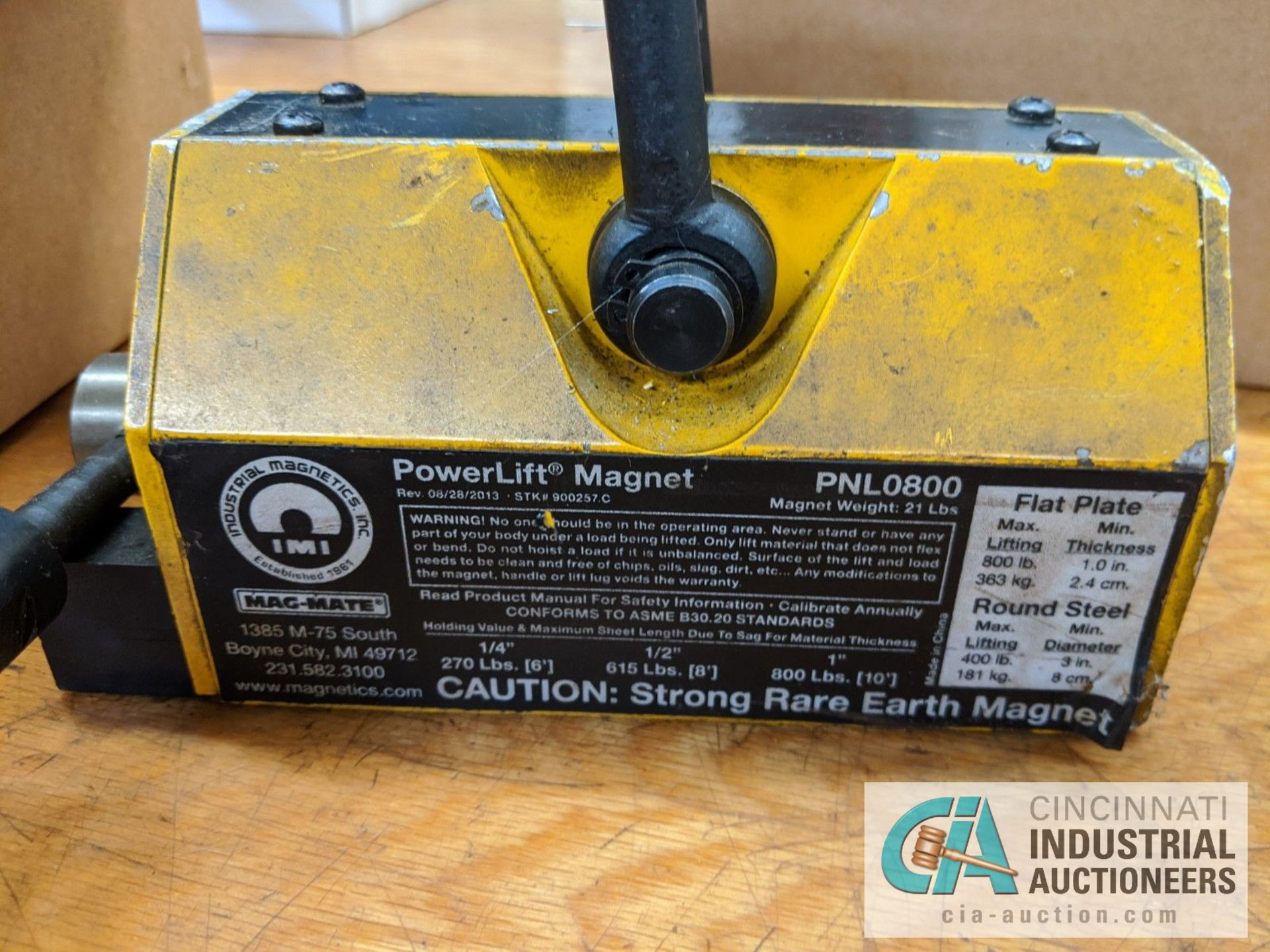 INDUSTRIAL MAGNETS POWER LIFT MAGNET, MODEL PLN0800, UP TO 800 LB. - Image 3 of 3