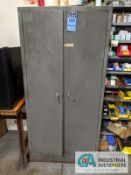 (LOT) 2-DOOR CABINET WITH KITCHEN AND FIRST AID SUPPLIES