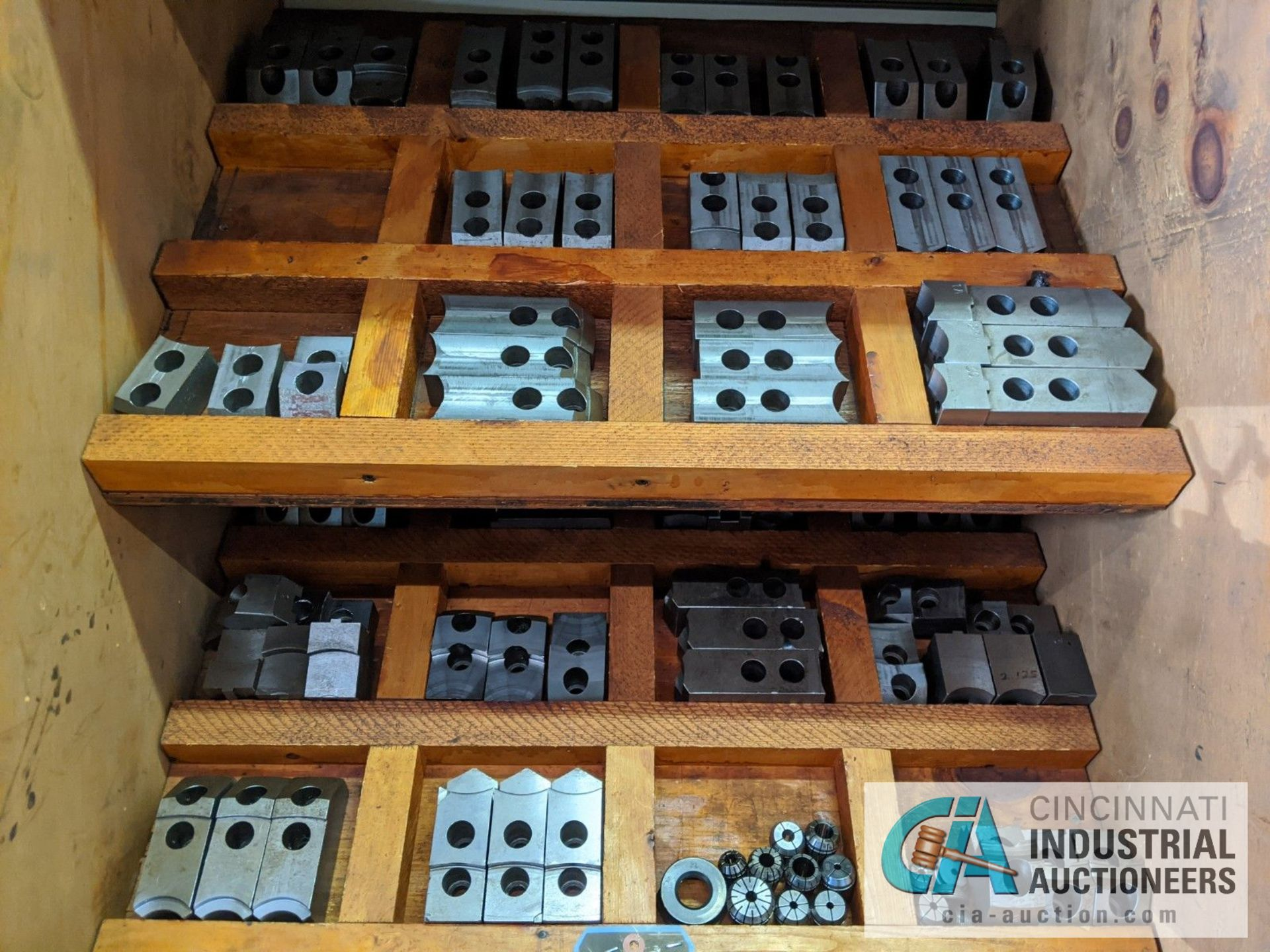 (LOT) CABINET WITH LATHE TOOLING; CHUCK JAWS, COLLETS, SLEEVES, COLLARS - Image 4 of 5