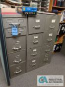 FILE CABINETS WITH OFFICE SUPPLIES AND BOOKCASE
