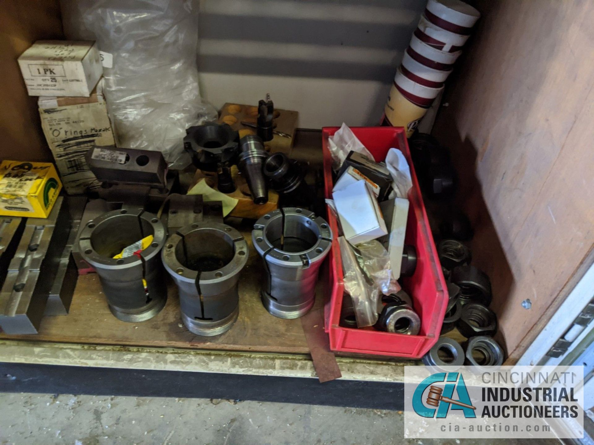 (LOT) CABINET WITH LATHE TOOLING; CHUCK JAWS, COLLETS, SLEEVES, COLLARS - Image 2 of 5