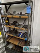 (LOT) SHELF UNIT WITH GRINDING FIXTURES AND ACCESSORIES AND GRINDING WHEELS ON WALL