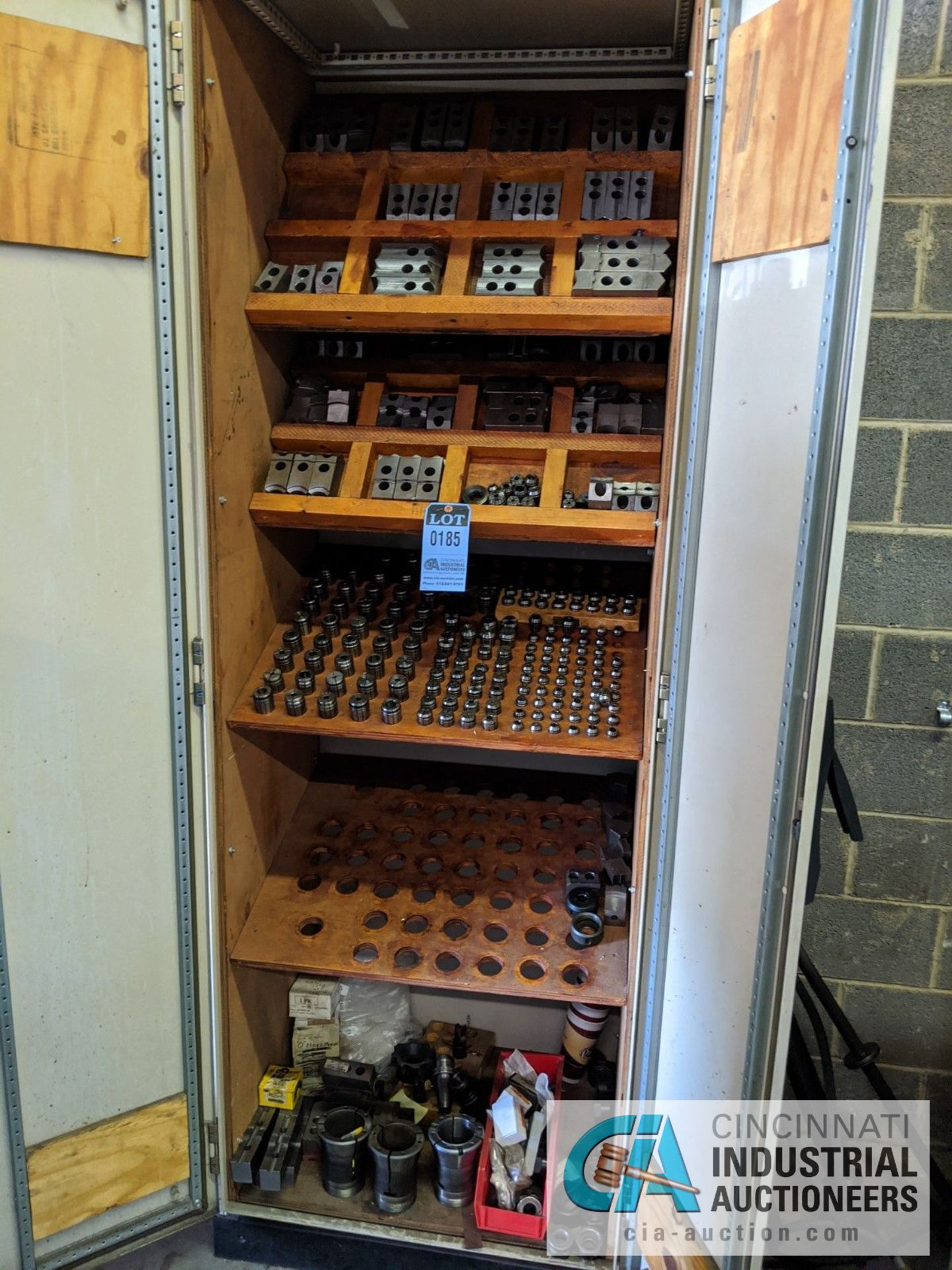 (LOT) CABINET WITH LATHE TOOLING; CHUCK JAWS, COLLETS, SLEEVES, COLLARS