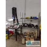 SHOP BUILT HYDRAULIC PRESS WITH 5 HP HYDRAULIC UNIT, RACK WITH ACCESSORIES