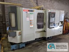 "MAZAK MODEL HTC DUAL PALLET CNC HORIZONTAL MACHINING CENTER; S/N 131289, 16"" X 16"" PALLET SIZE,"