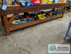 "42"" X 144"" BENCH WITH VISE AND 40 TAPER TOOLS CHANGE FIXTURES AND WRENCHES"