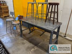 (LOT) WORKBENCH WITH VISE, STOOLS, WELD CURTAINS