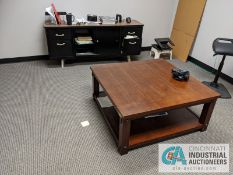 (LOT) CONTENTS OF OFFICE; DESK, CREDENZA, COFFEE TABLE, BOOKCASE, COFFEE MAKER