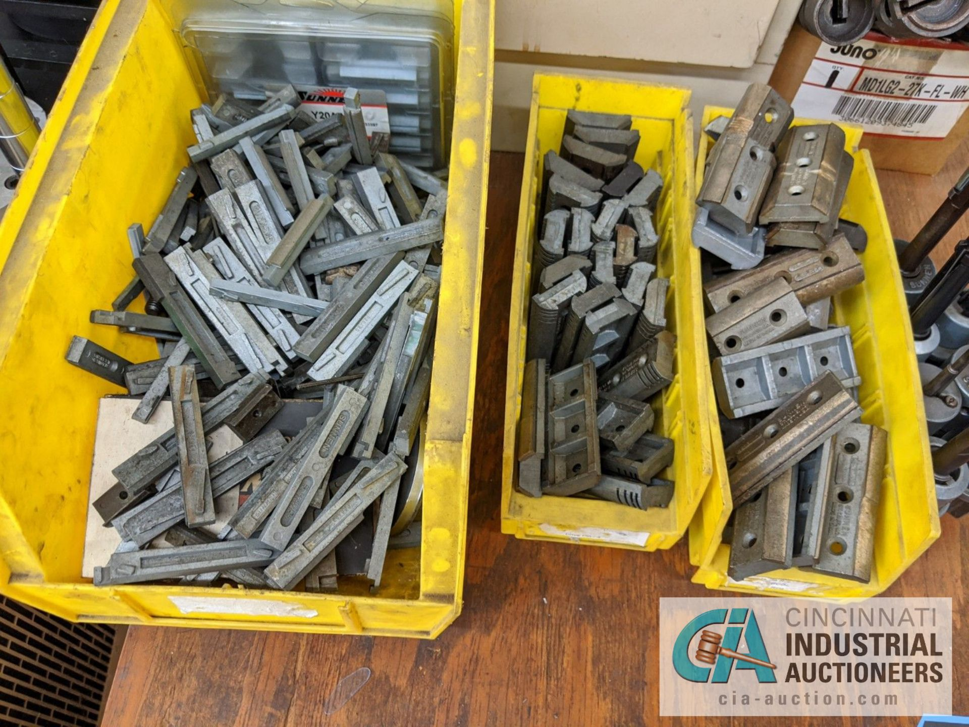 (LOT) ASSORTED HONE TOOLING IN TOTES AND CABINET WIHT BENCH - Image 2 of 4