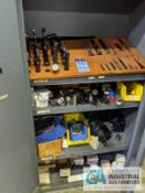 (LOT) CABINET WITH LATHE TOOLING; MOSTLY BORING BARS AND HARDWARE