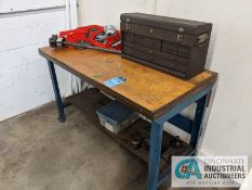 (LOT) ASSORTED LATHE TOOLING WITH WORK BENCH