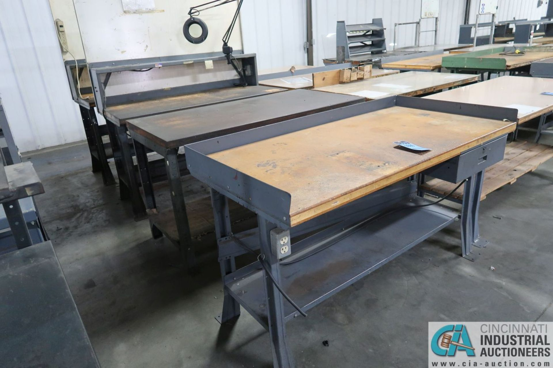 """30"""" X 72"""" X 34"""" HIGH STEEL FRAME MAPLE TOP WORK STATIONS"""