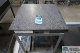 "24"" X 24"" X 4"" THICK TWO-LEDGE BLACK GRANITE SURFACE PLATE WITH STAND"
