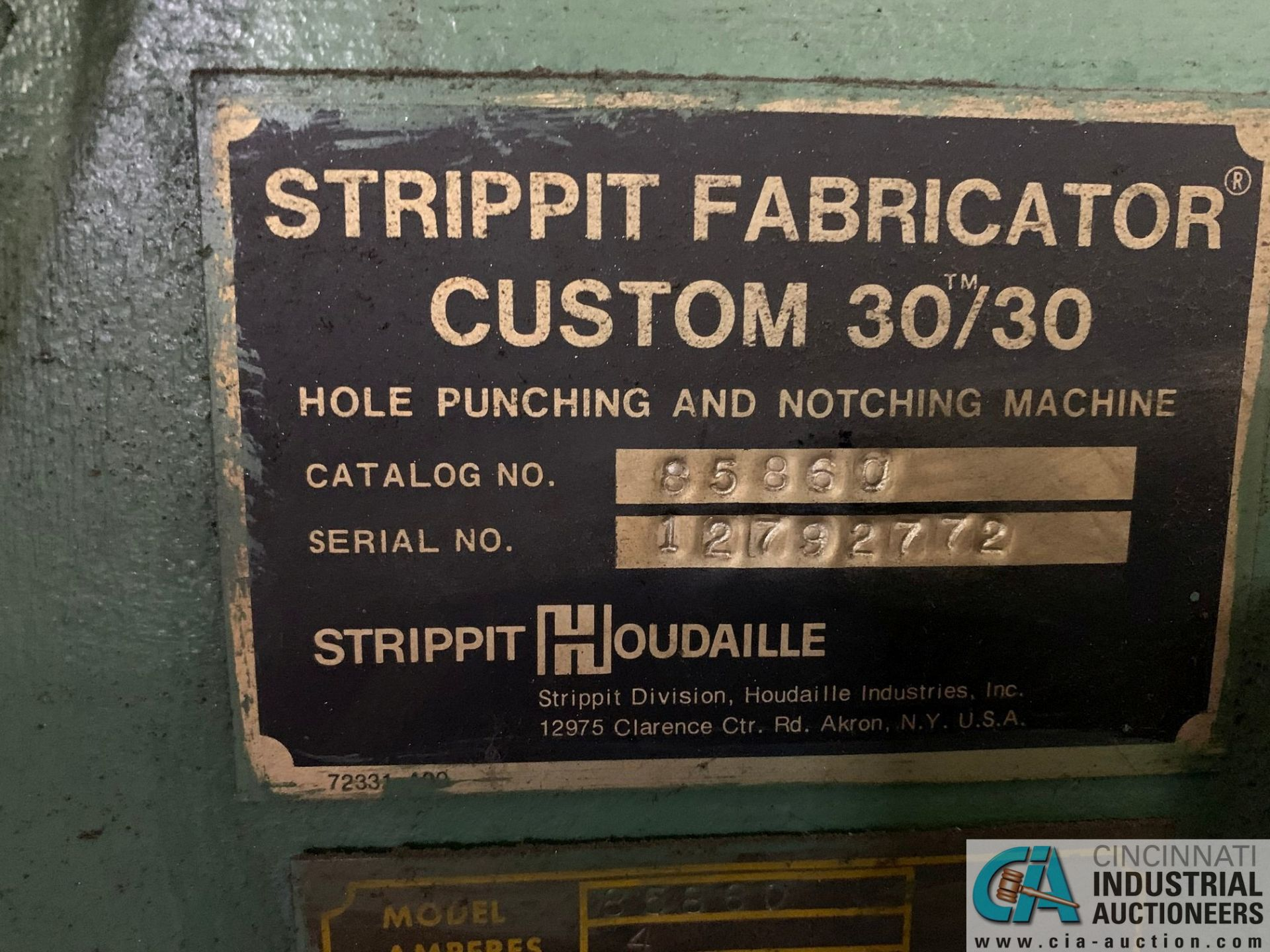 30 TON STRIPPIT FABRICATOR CUSTOM 30/30 SINGLE END PUNCH WITH TOOLING - Image 6 of 9