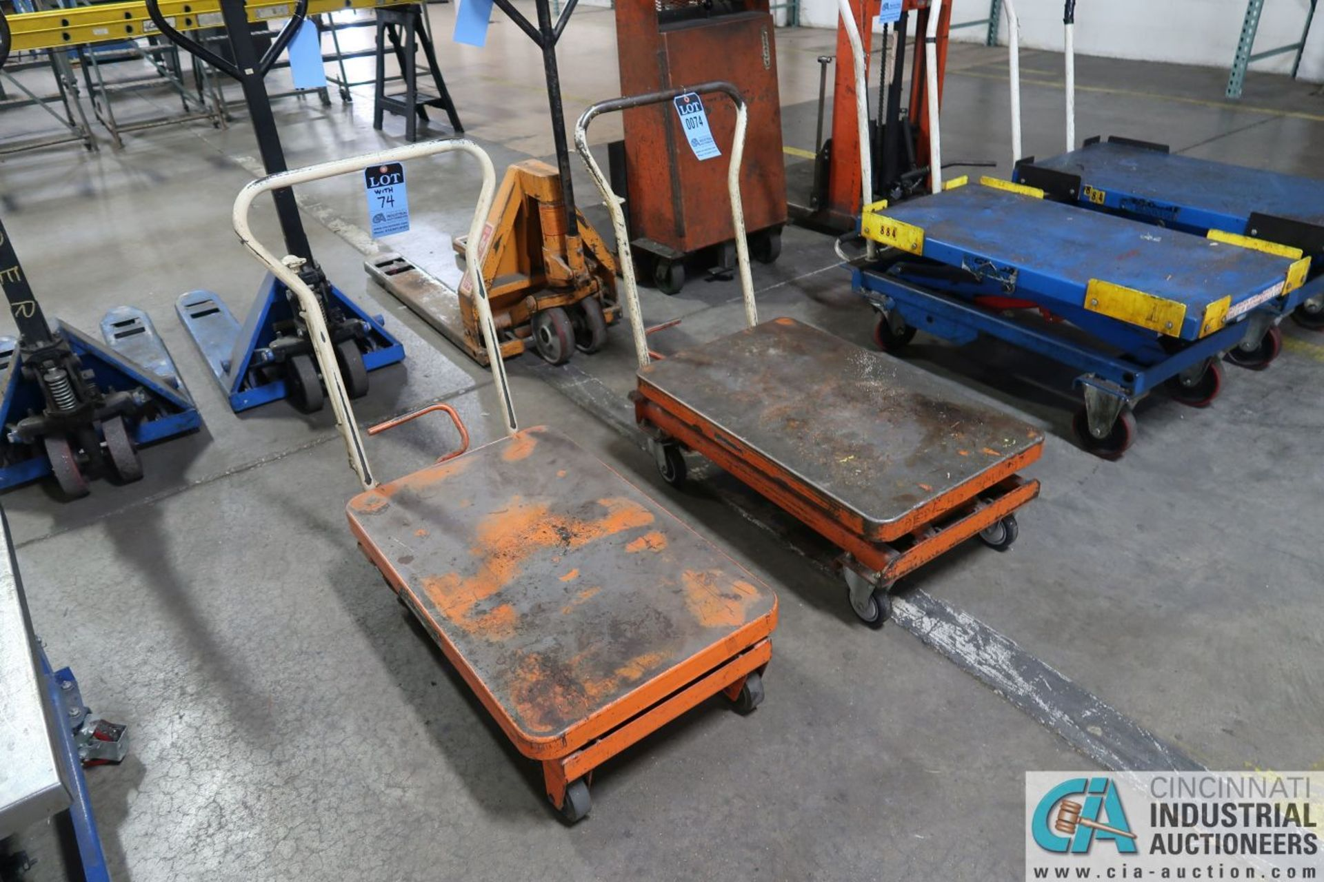 "HYDRAULIC DIE LIFT CARTS; 550 LB. CAPACITY BISHAMON SCISSOR TYPE MANUAL, 20"" X 32"" PLATFORMS - Image 2 of 2"