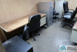 (LOT) DESKS, CHAIRS AND FILE CABINETS **NO AC UNIT**