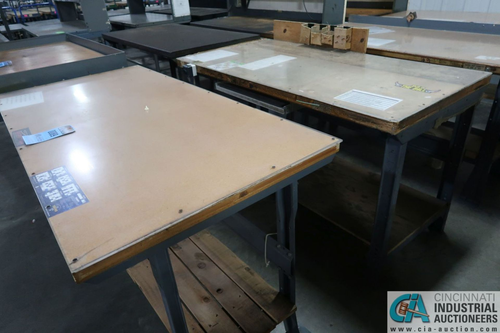 "30"" X 72"" X 34"" HIGH STEEL FRAME MAPLE TOP WORK STATIONS - Image 2 of 3"