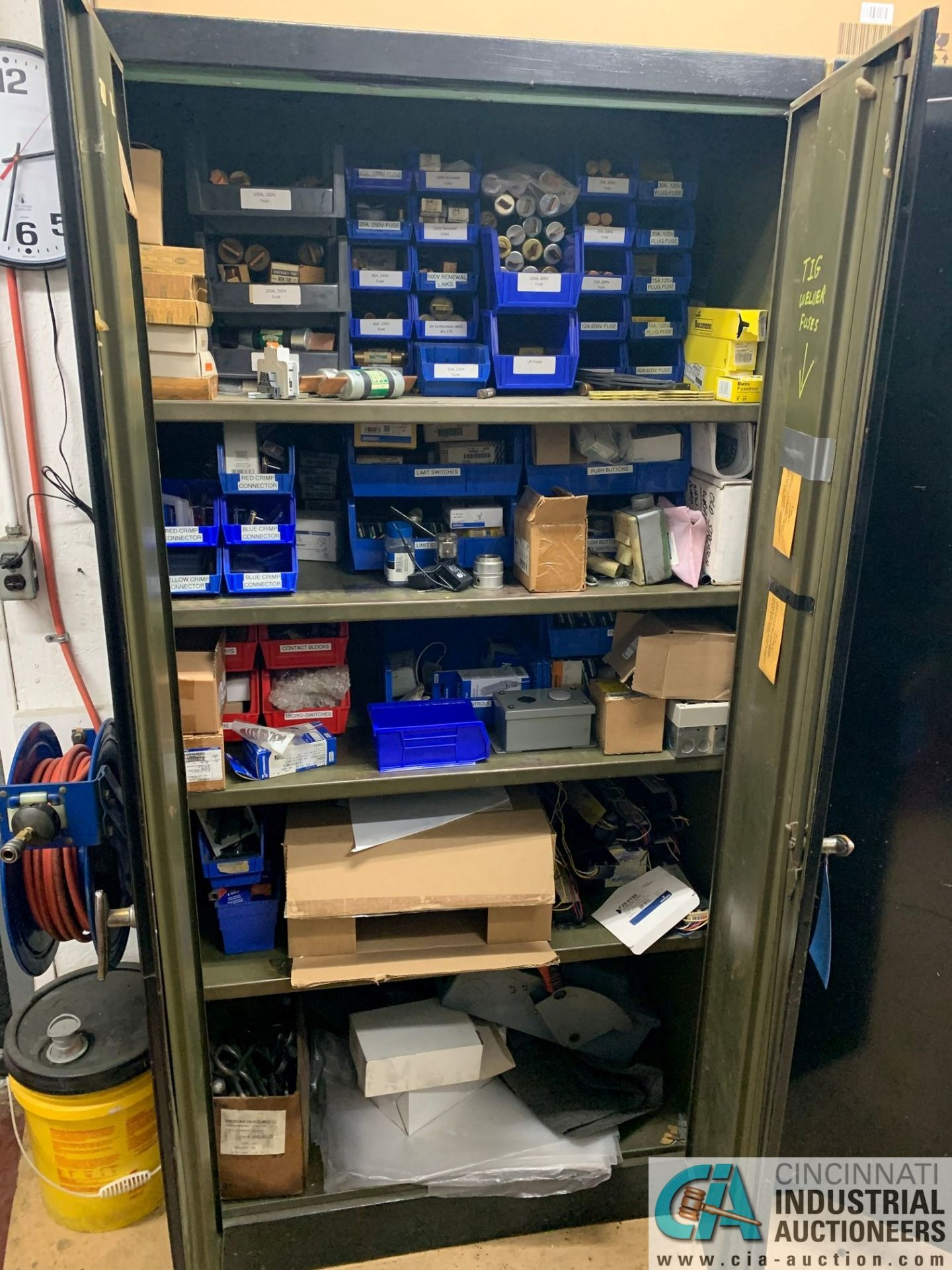 (LOT) (4) CABINETS WITH MAINTENANCE PARTS AND SUPPLIES, FUSES, WIRE, CONNECTORS AND RELATED - Image 5 of 13