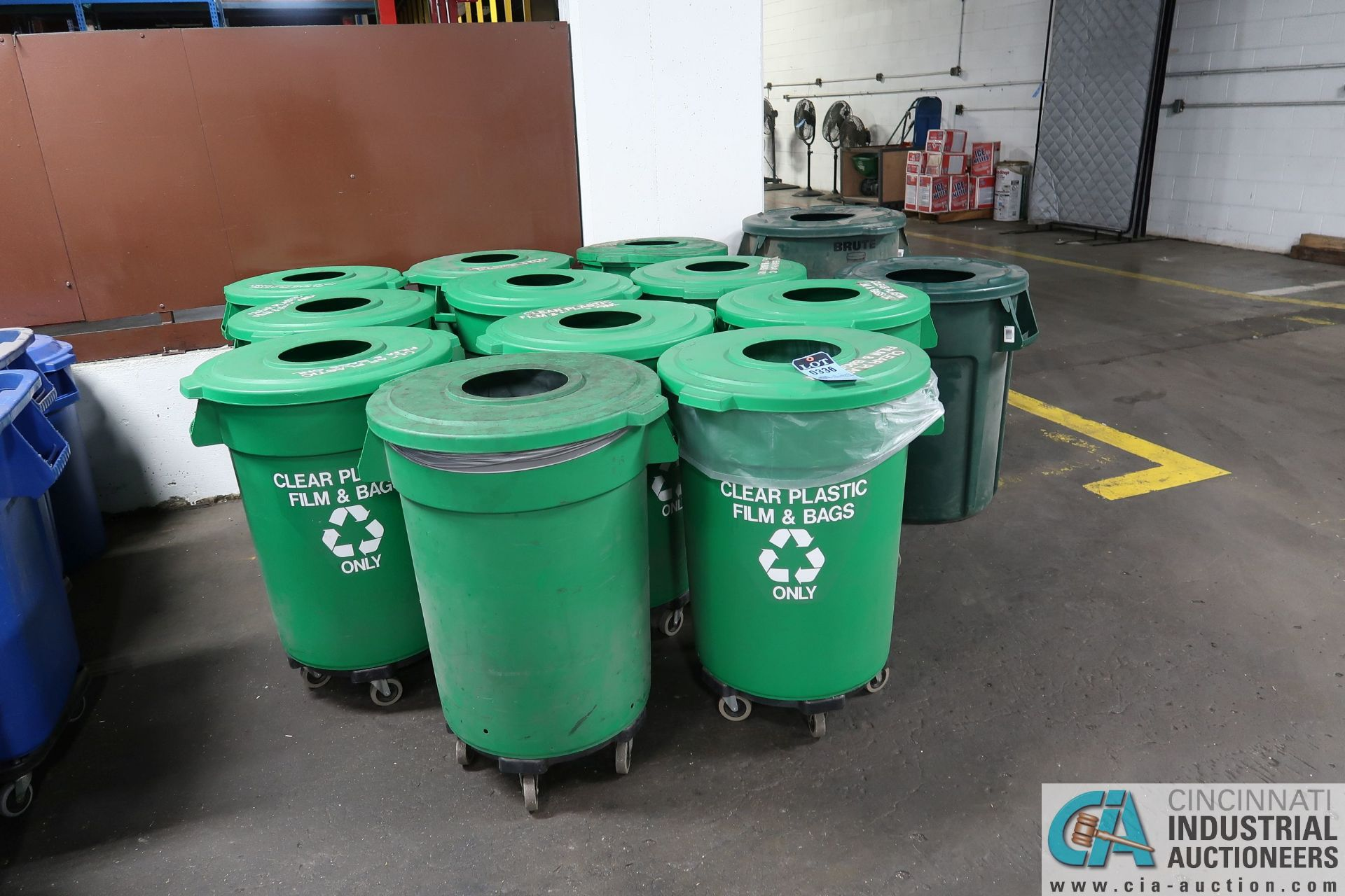 """20 GALLON CARLISLE GREEN """"RECYCLE"""" TRASH CANS WITH RECYCLE LIDS AND DOLLIES"""
