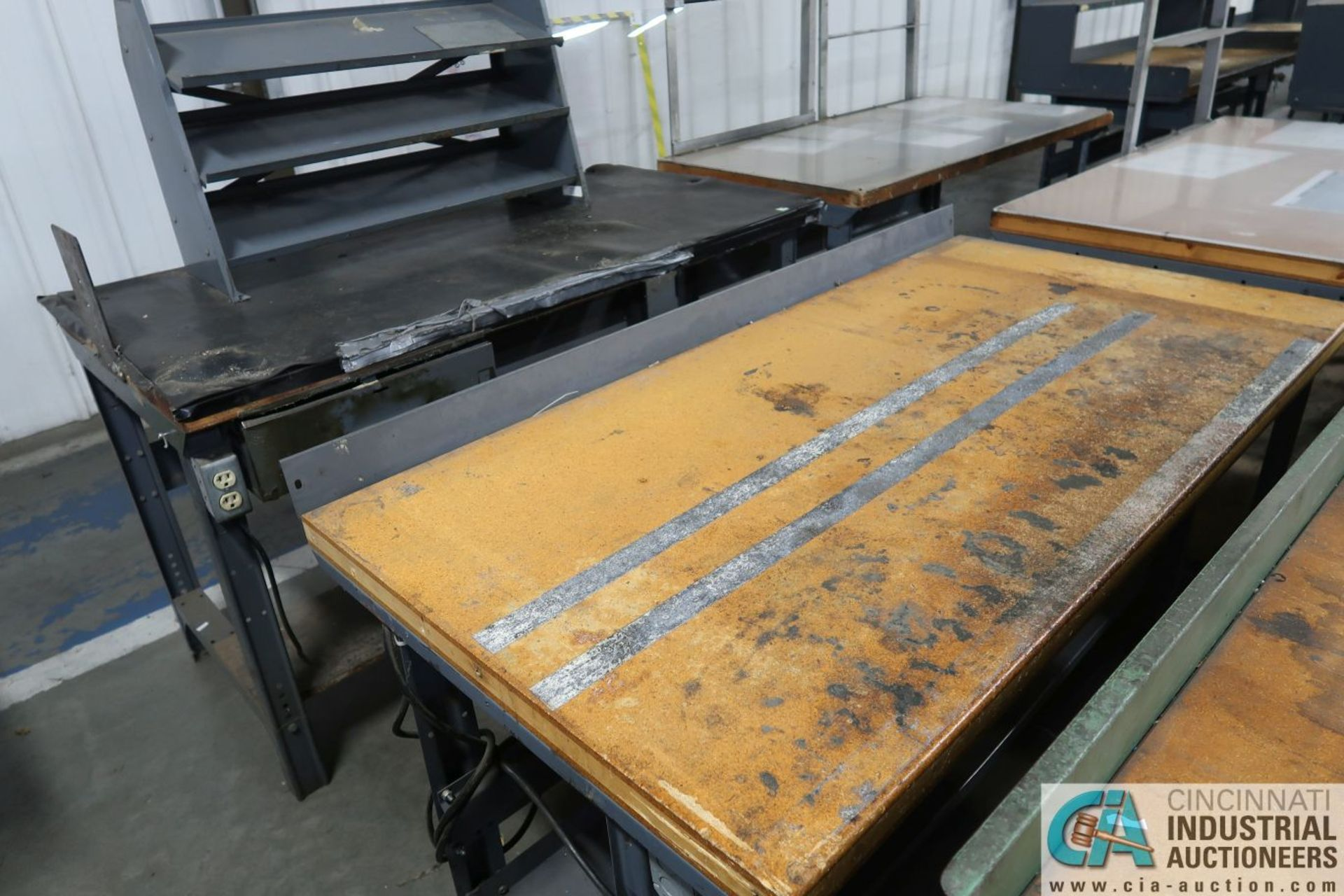 """30"""" X 72"""" X 34"""" HIGH STEEL FRAME MAPLE TOP WORK STATIONS - Image 3 of 3"""