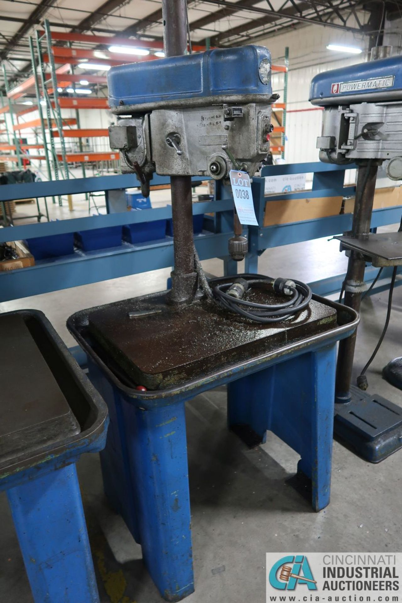 """15"""" WALKER-TURNER SINGLE SPINDLE MACHINE BASE MOUNTED DRILL, 19"""" X 28"""" DRILL BASE"""