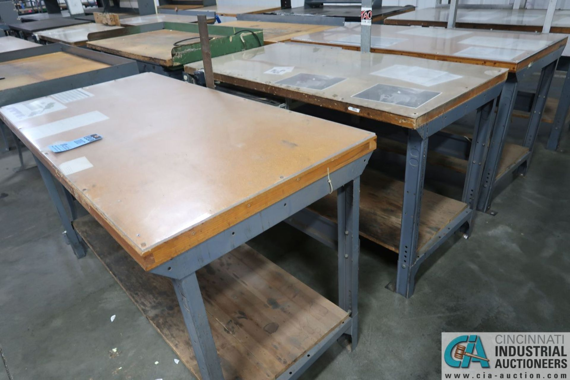 """30"""" X 72"""" ADJUSTABLE HEIGHT STEEL FRAME MAPLE TOP WORK STATIONS - Image 2 of 3"""